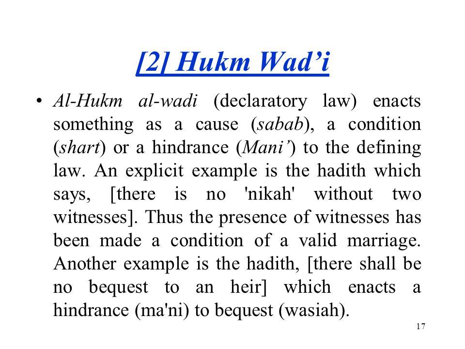 [2] Hukm Wad'i